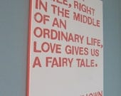 16X20 Canvas Sign - Love and Fairy Tales, Cream and Coral