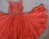 Vintage On Sale Bangles Studded Dance Party Coral Orange Chiffon Misses XS SM Womens Dress