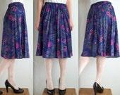 Purple Pleated Paisley Skirt