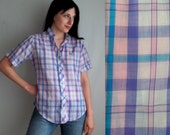 Purple Blue Pink & White Plaid Shirt