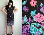Black Pink Purple & Turquoise Floral Dress