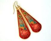 Red Flower Butterfly & Hearts Earrings