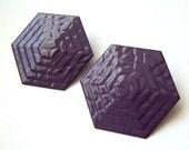 Textured Purple Octagon Earrings