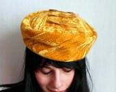 Mustard Yellow Velvet Triple Bow Hat