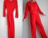 Bold Red Jumpsuit With Belt