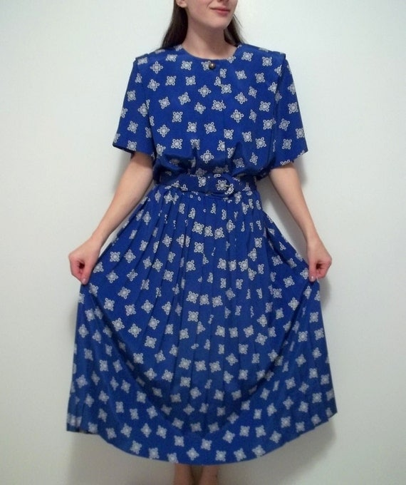 Blue and White Day Dress with Belt