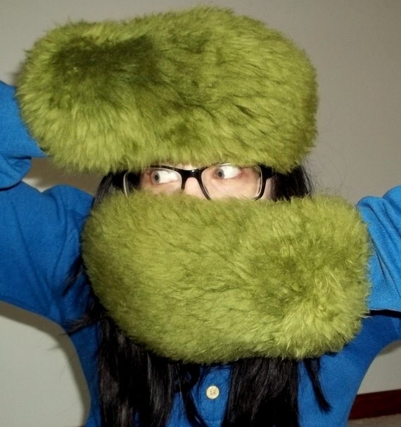 Green Wool Monster Gloves