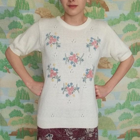 Short Sleeve White Floral Sweater Shirt