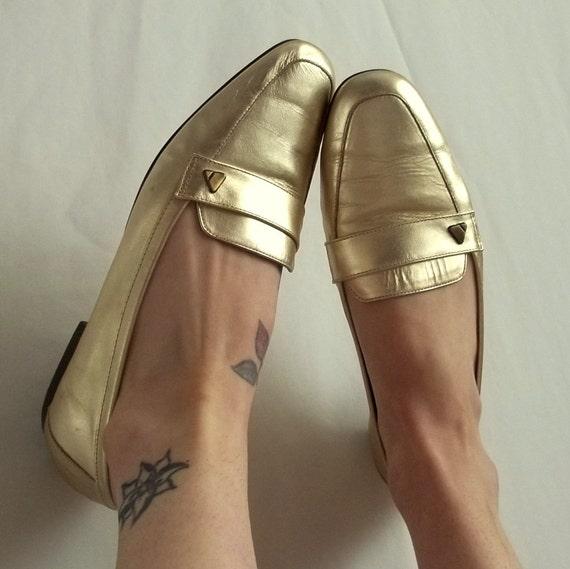 Gold Leather Liz Claiborne Flats