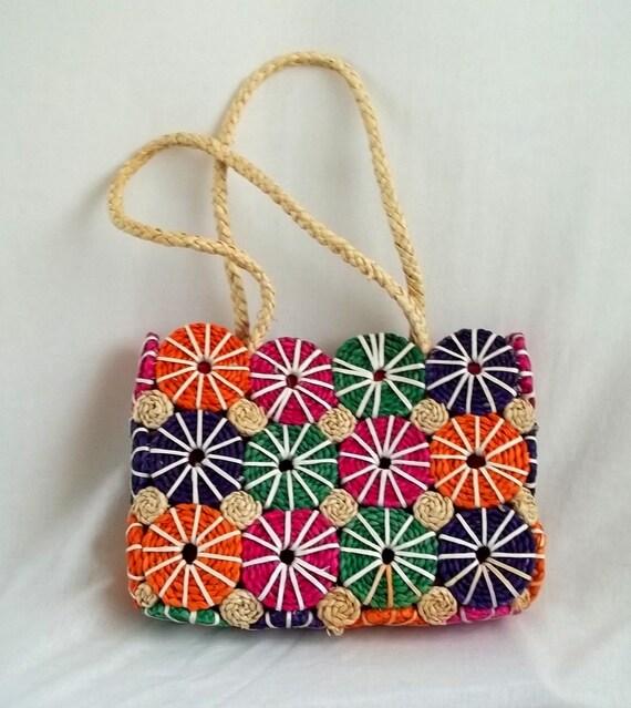 Colorful Pinwheel Straw Purse