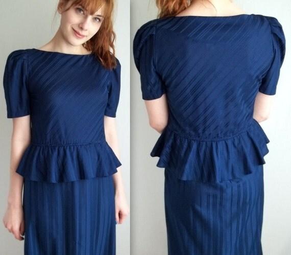 Navy Blue Striped Peplum Dress