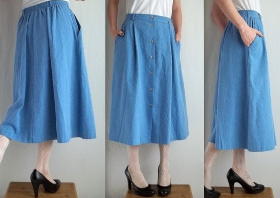 Light Blue Denim Skirt with Pockets
