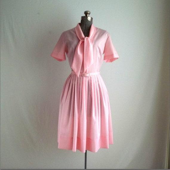 Pale Pink Bow Tie Secretary Dress