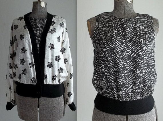 Black & White Silk Polka Dotted Two Piece