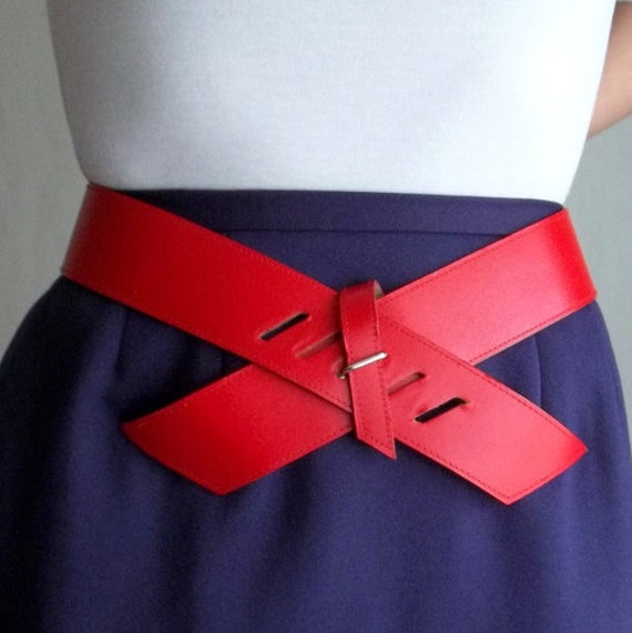 Red Vinyl Cross Belt