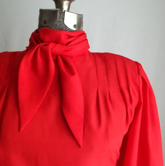 Red Bow Tie Secretary Blouse