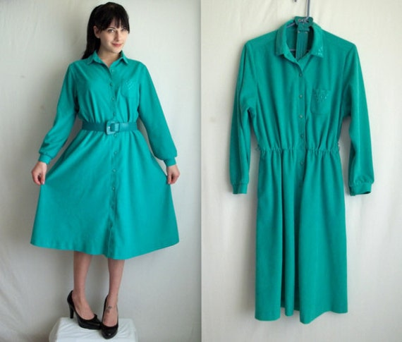 Teal Turquoise Soft Dress with Pockets & Belt