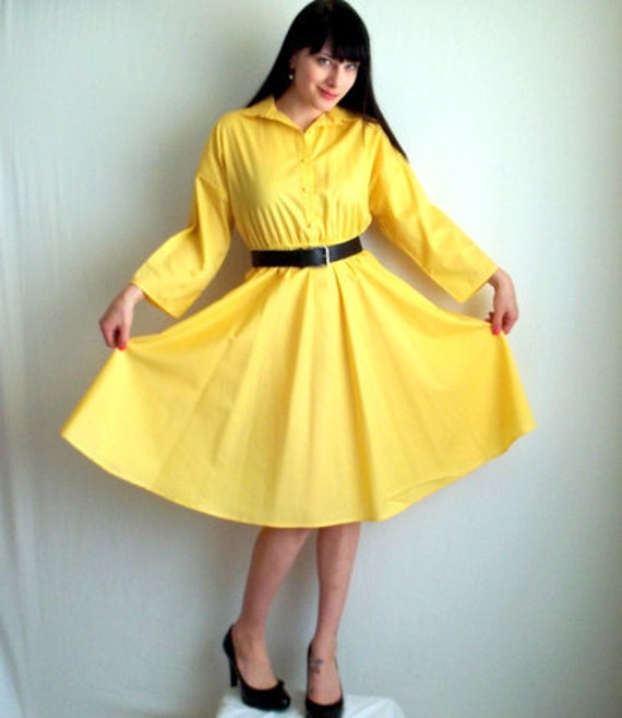 Bright Yellow Day Dress with Pockets