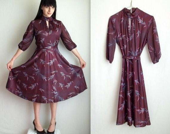 Dark Purple Dress with Belt