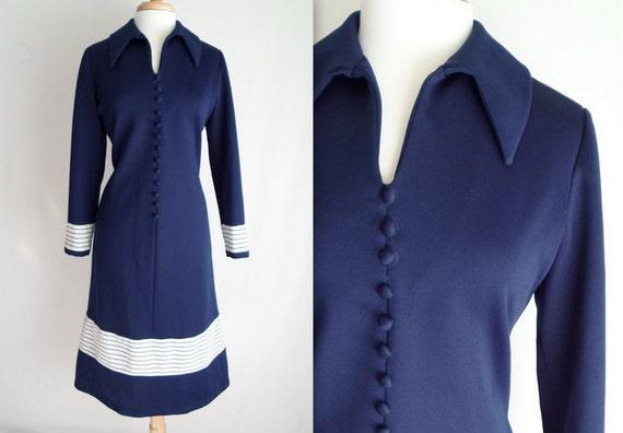 Navy Blue & White Day Dress