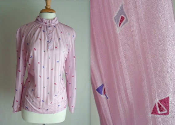 Pale Pink Geometric Spotted Blouse