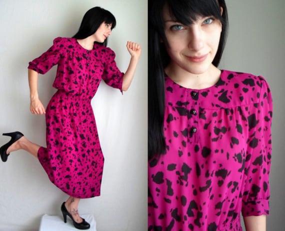 Fuschia & Black Animal Print Polka Dot Dress