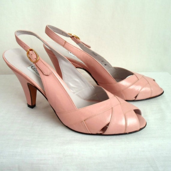 Pale Pink Leather Heels with Gold Tone Buckles