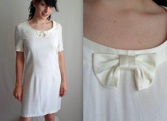 White Bow Tie Dress