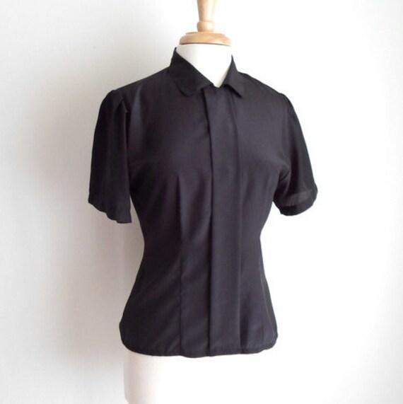 Black Silky Short Sleeved Blouse