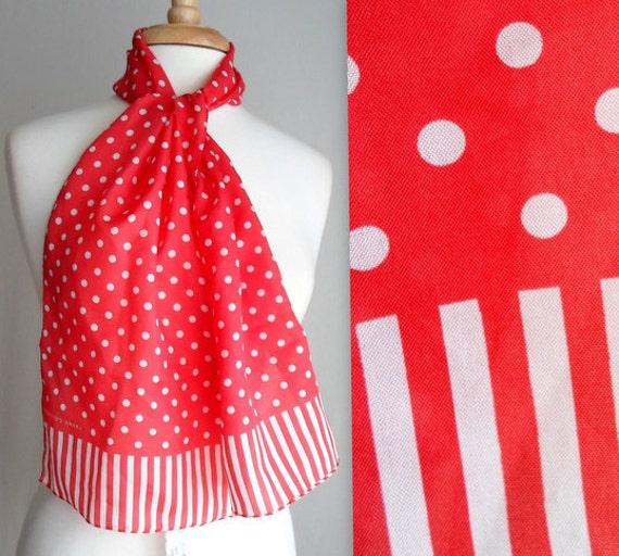 Sarah Coventry Red & White Polka Dot Scarf