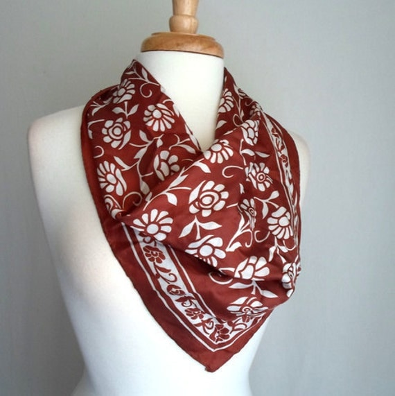 Brown & White Floral Scarf