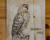 Woodburned snowy owl welcome plaque