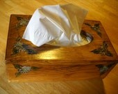 Wooden woodburned floweres tissue box with early american stain