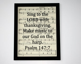 Bible Verse Print on Vintage Music