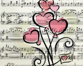 Hearts Print on Vintage Sheet Music, Customizable