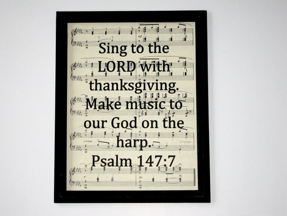 Items Similar To Bible Verse Print On Vintage Music On Etsy