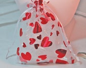 8 Toile Bags with Hearts