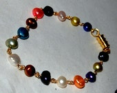 Multi Color Freshwater Pearl Bracelet with Secure Magnetic Clasp   A
