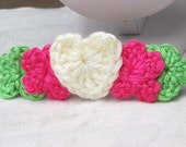 Pastel Heart and Flowers Barrette -- Too Cute