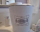 Metal bucket White French laundry label bathroom storage Shabby Cottage Chic