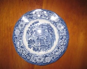 Vintage Staffordshire Liberty Blue Bread Plate small Transferware 6 inch Monticello