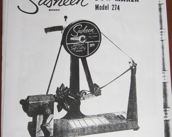 Sasheen Bow Maker Model 274 Operating Instructions and Parts List