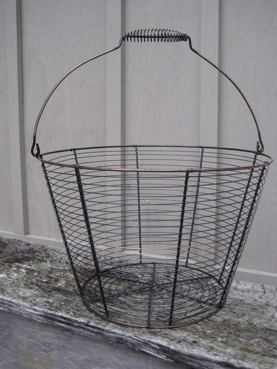 Vintage Wire Basket Eggs vegetables rustic country handle black