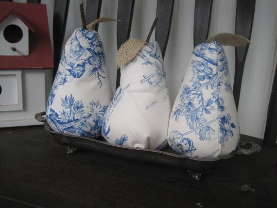 French Toile Stuffed Pear decorative fruit Blue transfer ware Pin cushion