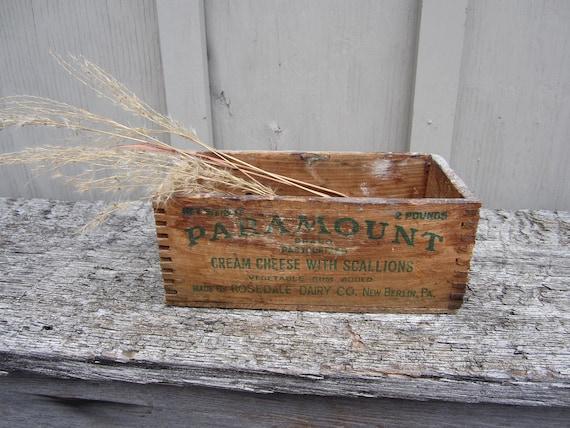 Vintage 1900s Paramount cream cheese box wood storage primitive 2 lb
