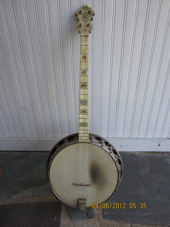 Vintage Gretsch Broadkaster Banjo 4 string mother of pearl
