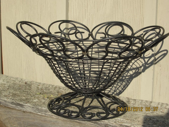 Vintage Scrolly  Wire Basket Eggs vegetables rustic country black urn planter