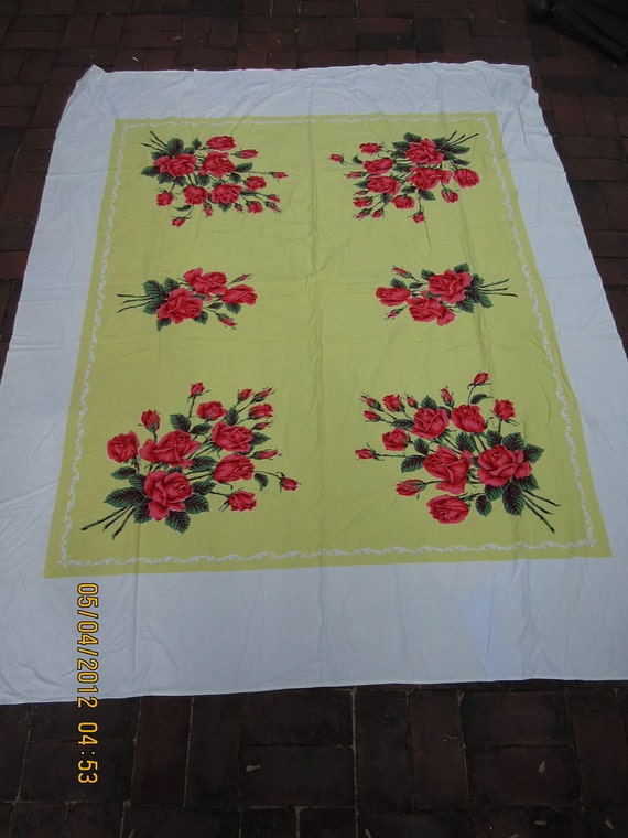 Vintage 1960s Floral Spring Tablecloth 64 x 72 flowers Yellow Roses red pink