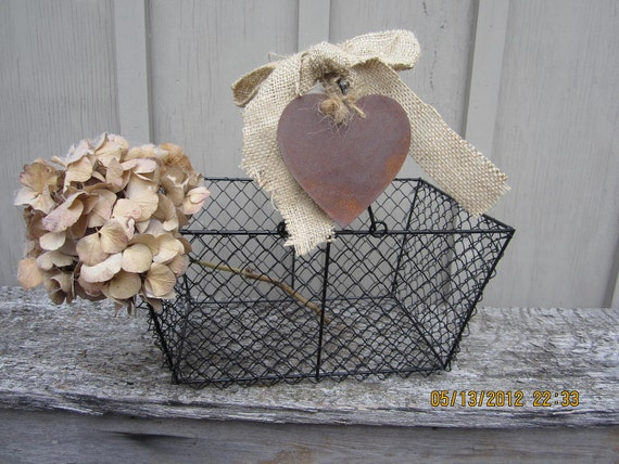 Painted Steel Wire Mesh Market Basket  Eggs vegetables rustic country black rusty heart altered up cycled
