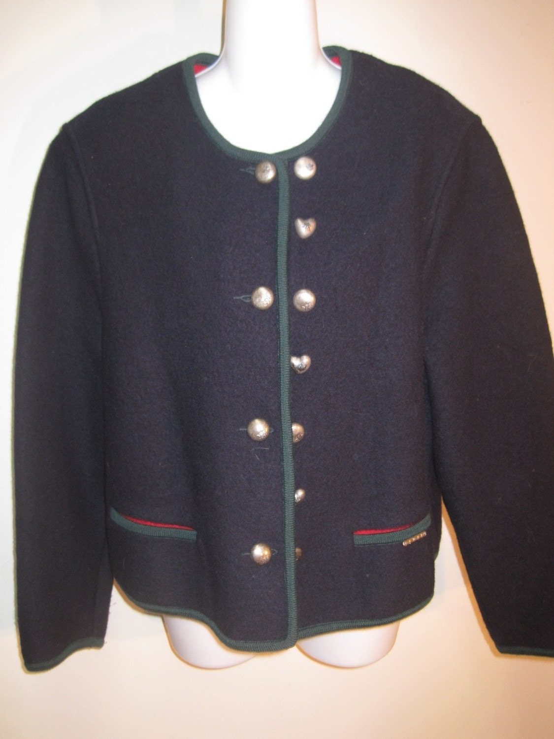 Womens Xl 14 16 Geiger Boiled Wool Jacket Sweater Navy Blue